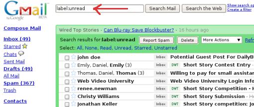 Como procurar somente emails não lidos no Gmail