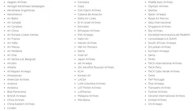 Mostrar as parceiras da GOL Linhas Aéreas na Interline