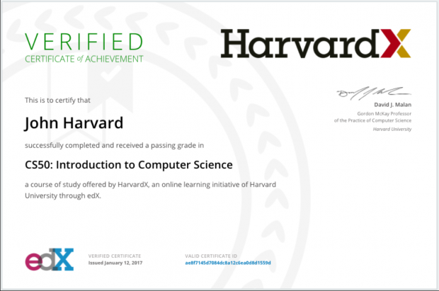 Destacar o certificado de Harvard